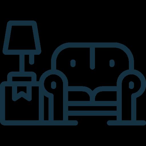 sofa con lampara sobre mueble